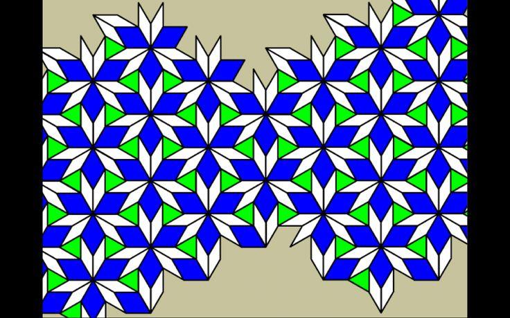 Pattern block tiling using triangles, 60º rhombuses and 30º rhombuses.