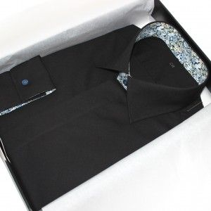 chemise fashion, chemise noire chemise Liberty chemise col italien chemise poignets mixte, chemise gogre cachée, chemise made in france, chemise homme, achat chemise