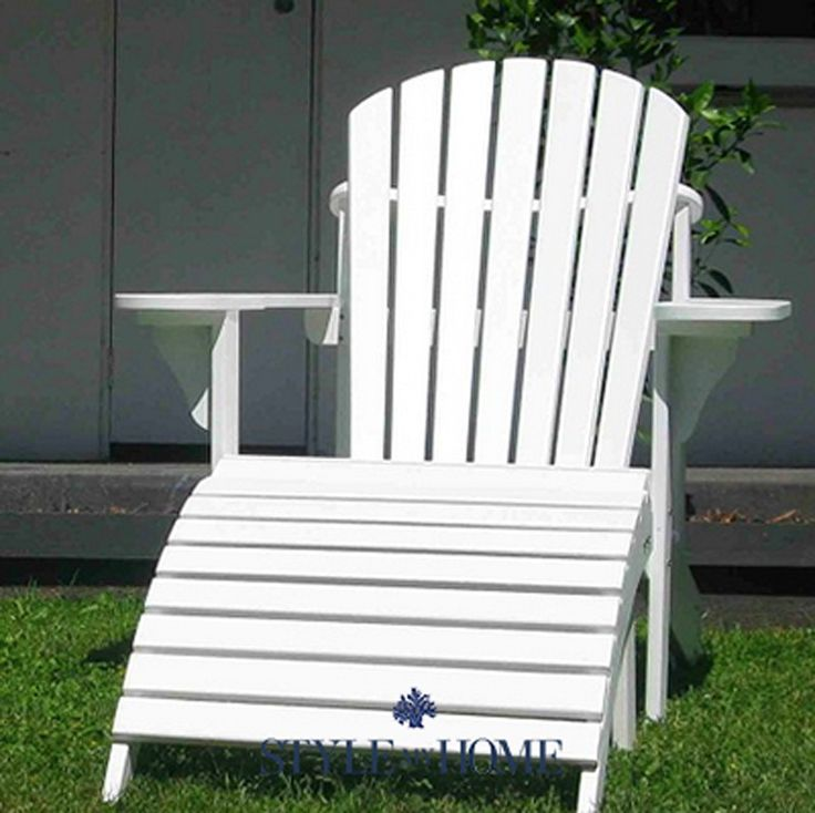 Hamptons Coastal Beach Outdoor Wooden Adirondack Chair and Footrest White by Style My Home Australia Sydney