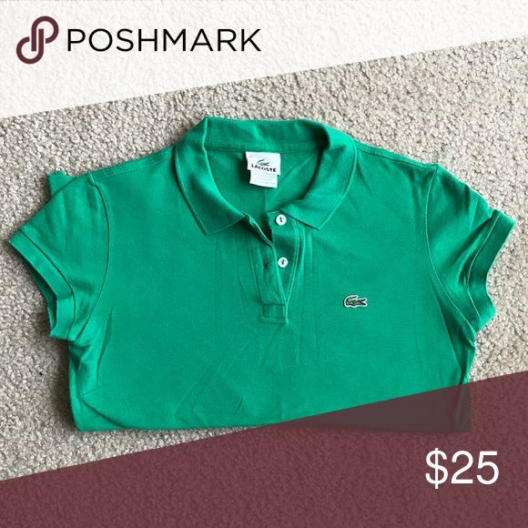 Lacoste Shirt Gently Used Green Polo Collar Shirt Lacoste Tops