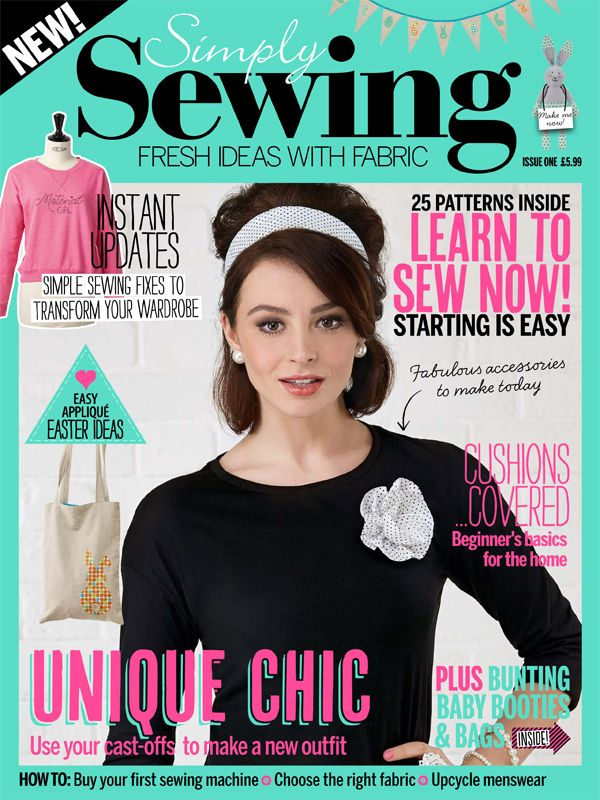 Simply Sewing Magazine: for women who sew, or would like to start sewing.  Patterns and projects range from small quirky toys and accessories to larger projects such as bags, home furnishings and simple garments for women and children. Customising clothes and home makes, touches of embroidery and appliqué are also included, together with features and profiles of celebrity stitchers and bloggers. #SimplySewing #magazine #diy #sewing #Sew #Make #Mags