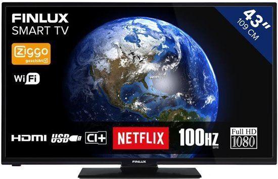 Finlux FL4322SMART  Description: Finlux FL4322SMART tv: 43 inch Full HD DLED televisie De Finlux FL4322SMART is de ideale televisie voor in de woonkamer slaapkamer of een andere (wat grotere ruimte) in huis. Deze televisie is een Full HD DLED televisie met ingebouwde DVB-T en DVB-C tuner geschikt voor MPEG4. De FL4322 SMART TV heeft een USB-aansluiting 2 HDMI ingangen en een ingang voor je koptelefoon. Handig om bijvoorbeeld een mp3-speler USB-stick digitale camera en andere apparaten aan te…