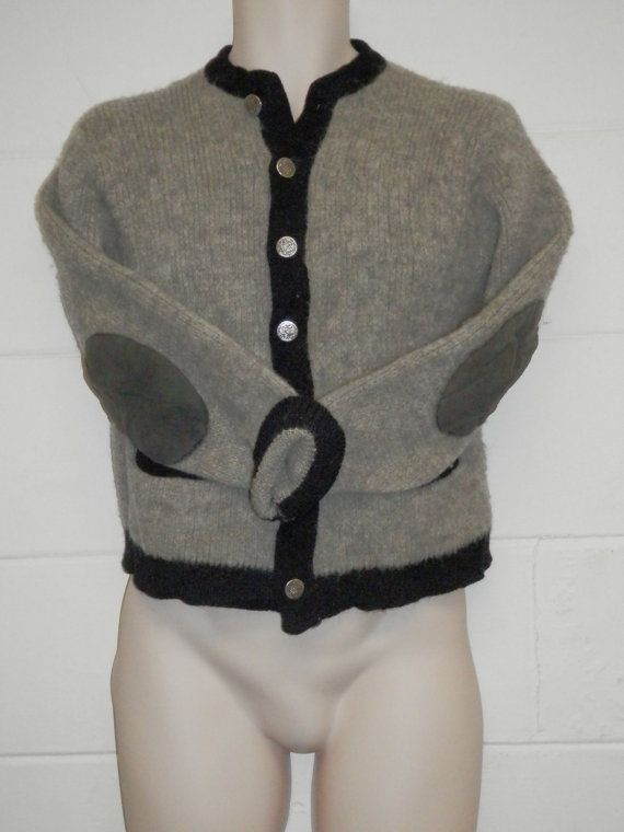 ... Wool Sweater Mens Large Leather elbow patches Grey Black Button