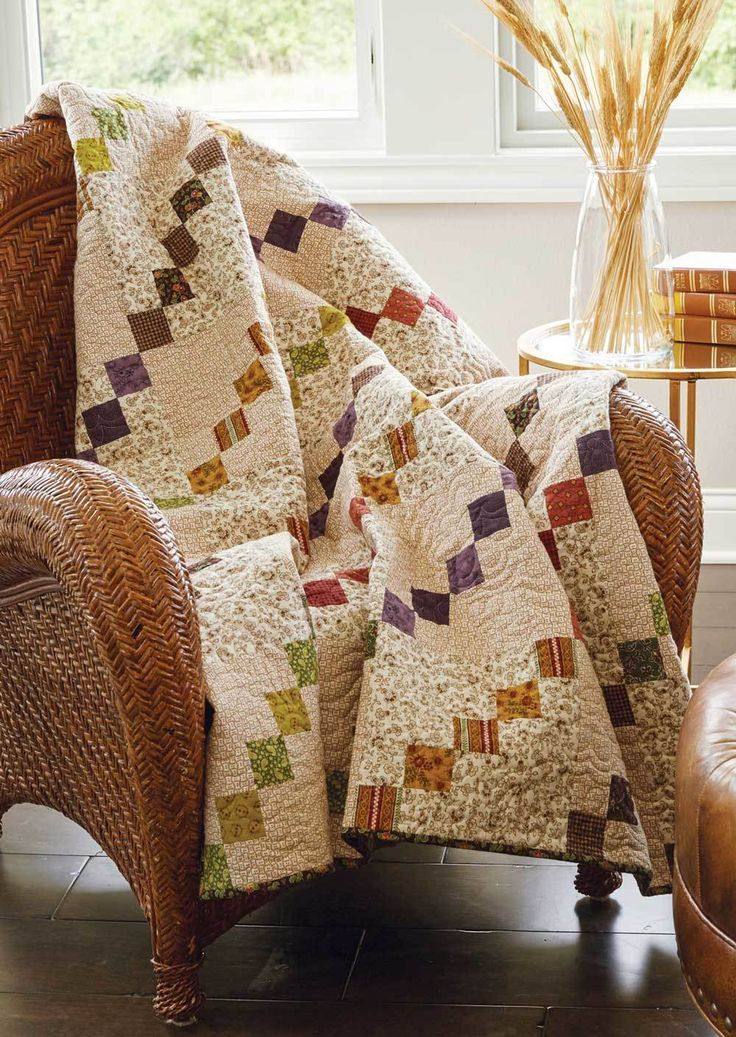 """Flannel quilting fabric used in lap quilts is a family favorite. Waves of Grain, by Sarah Maxwell, is made from a collection of 2½"""" precuts and makes the perfect winter quilt!"""