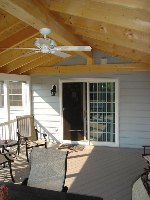 Gable Roof Sunroom W Ceiling Fan Angle 2 Gable Roof