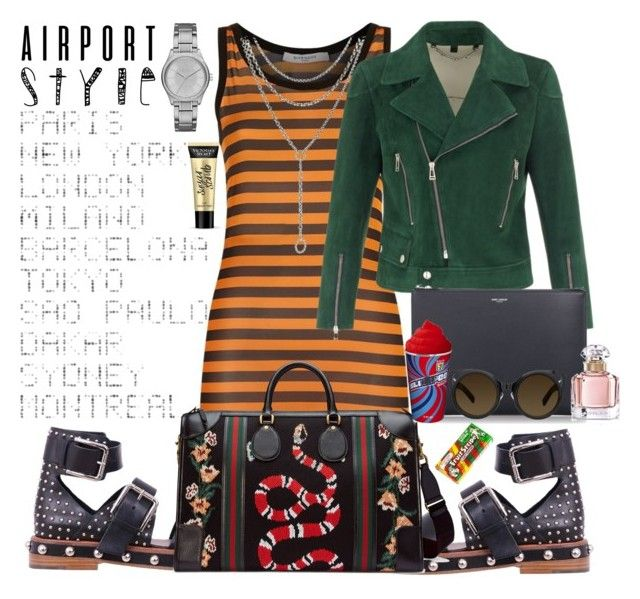 """""""Airport Style ✨"""" by seanahr ❤ liked on Polyvore featuring Givenchy, RED Valentino, ADZif, Gucci, Belstaff, David Yurman, Yves Saint Laurent, Armani Exchange, Victoria's Secret and Erdem"""