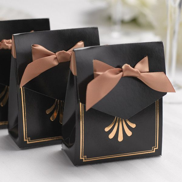 Gold Foil Art Deco Tent Favor Box with Ribbon