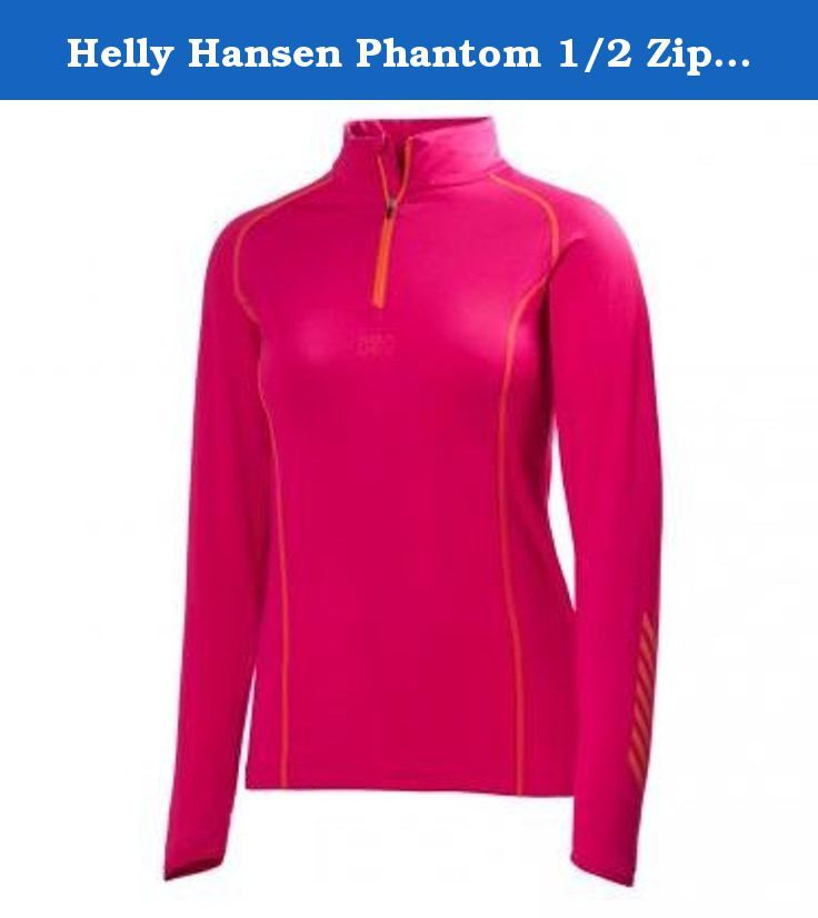 Helly Hansen Phantom 1/2 Zip Midlayer Top - Women's Magenta XS. FEATURES of the Helly Hansen Women's Phantom 1/2 Zip Midlayer Top 100g Polartec Brushed inside 1/2 Zip construction Contrast Flatlock seams Helly Hansen performance stripe artwork on sleeves HH Logo on chest Fitted SPECIFICATIONS of the Helly Hansen Women's Phantom 1/2 Zip Midlayer Top 92% Polyester 8% Elastane.