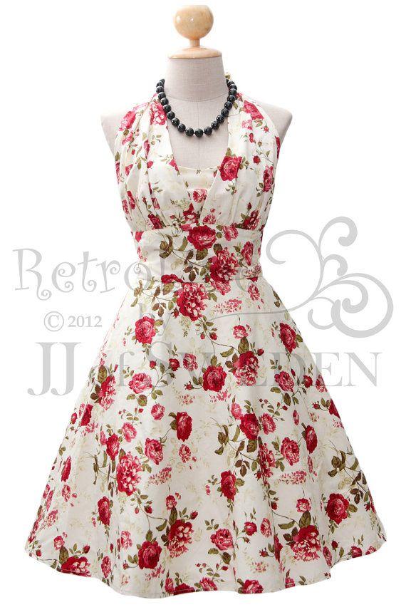 Robe rétro conçu licol à la main. Robe rockabilly à motifs de fleurs, 50 inspiré. M / L