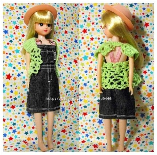Crochet : fashion doll vest 4 (http://www.lovemlb.net/)