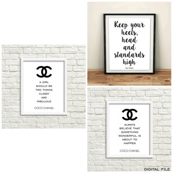 Chanel set of 3 prints, teen girl room decor, Chanel triptych wall art, teen…