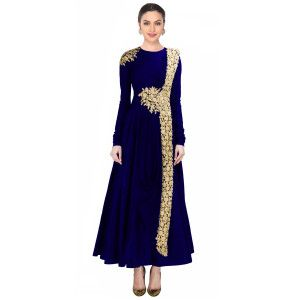 Fantastic Blue And Beige Silk Anarkali Suit.