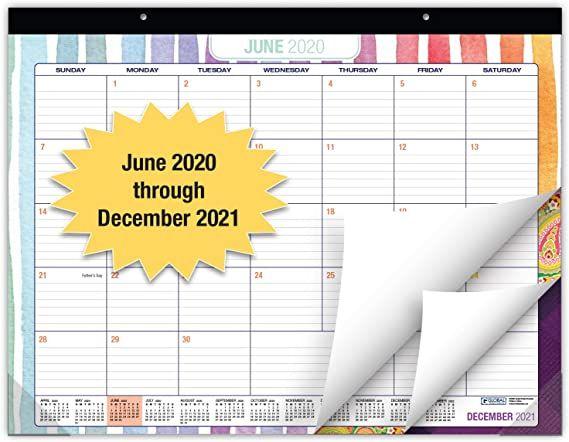 Amazon Com Desk Calendar 2020 2021 Large Monthly Pages 22 X17 Runs From June 2020 Through December 2021 De In 2020 Desk Calendars Calendar 2020 Wall Calendar
