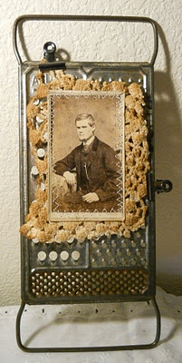 Vintage Grater Photo Holder With Clips