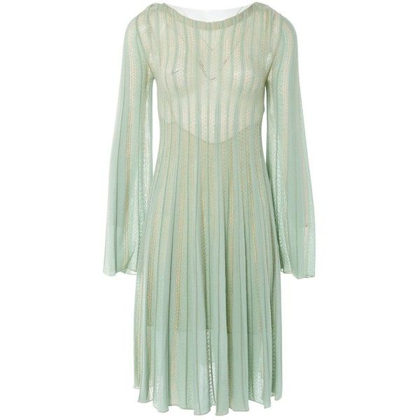 Pre-owned Missoni Mid-Length Dress ($393) ❤ liked on Polyvore featuring dresses, green, women clothing dresses, see through dress, viscose dresses, mid length sleeve dresses, sheer sleeve dress and mid length dresses