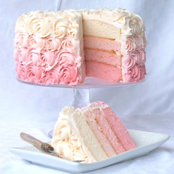 pink and white rose cake