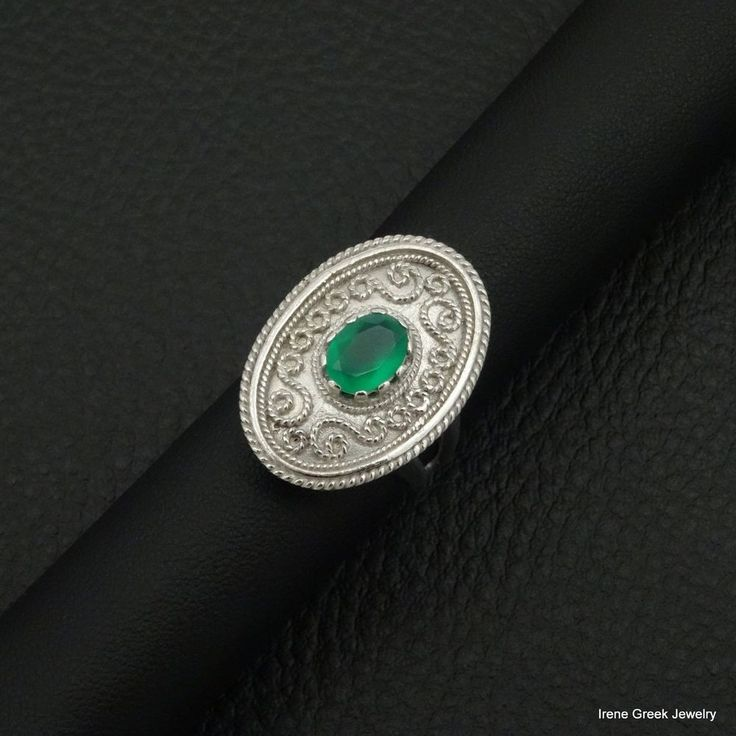 RARE LUXURY NATURAL GREEN ONYX BYZANTINE 925 STERLING SILVER GREEK HANDMADE RNG #IreneGreekJewelry #Cocktail