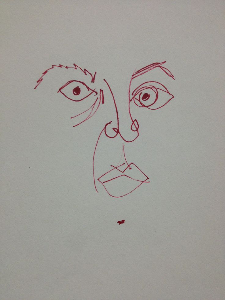 self-portrait bad thoughts red pen