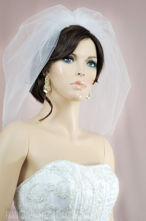 bridal blusher bubble veil 2 layers, wedding double blusher veil, white, ivory or champagne,short bubble veil