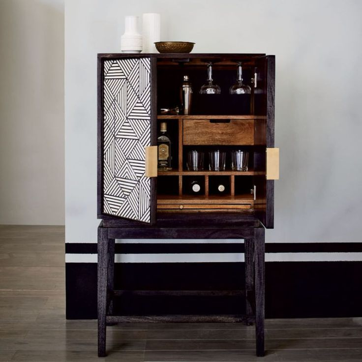 black and white inlaid drinks cabinet liquor cabinetbar