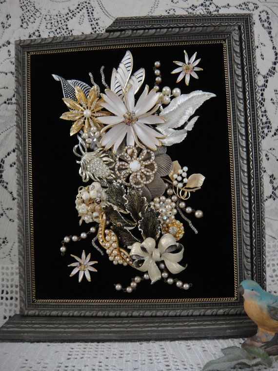 RESERVED for CARLA     Framed Jewelry Picture Art , White Silver Jewelry Collage Art by VintageRedo: