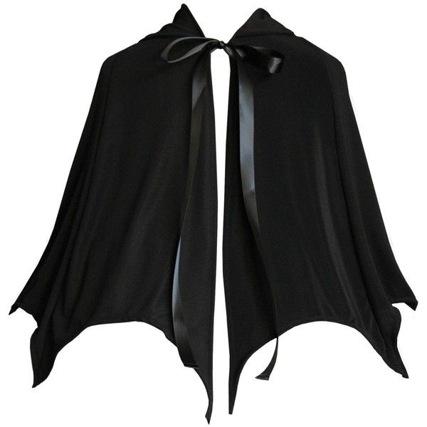 Victorian Vagabond Gothic Game of Thrones Vampire Bat Steampunk... ($15) ❤ liked on Polyvore featuring cape, black, coats, dolls and jackets