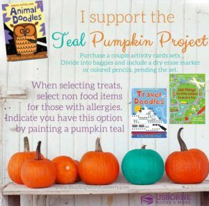 Be ready this Halloween with a Teal Pumpkin and non food items for trick or treaters! Kids and their parents will be thankful for one less candy item!