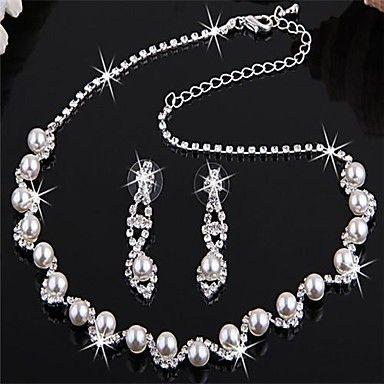 EUR € 8.27 - Silver pläterad Bridal Pearl Crystal Örhängen Halsband , Gratis frakt för alla Gadgets!