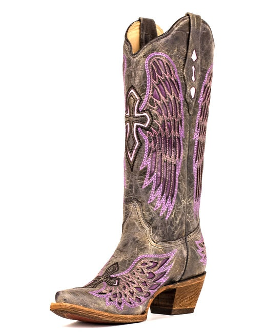LOVE THIS PAIR! Women's Distressed Black Winged Cross Purple Inlay Boot - A1969 . $232.95