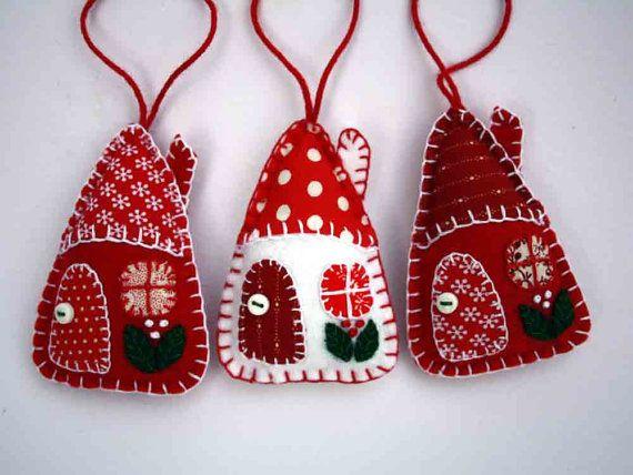 Felt Christmas ornaments, 3 Red and white patchwork houses, Handmade felt…