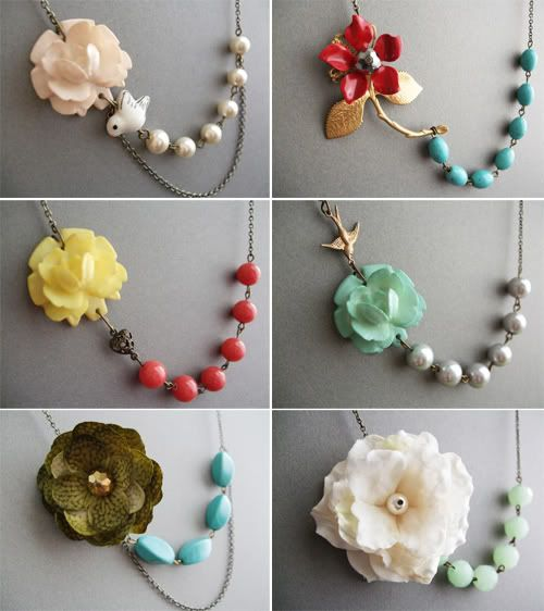 Chain, bead and flower necklaces.