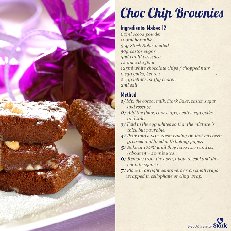 Choc chip brownies #recipe - yum!