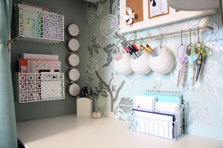 Great wall hangings for stationary, instead of having pen pots which lose space on the desk.
