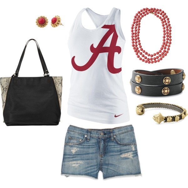 """Alabama Crimson Tide"" by kayla-coe on Polyvore. Jewels & bag by Senior Stylist Kayla Coe, Stella & Dot: www.stelladot.com/kaycoe"