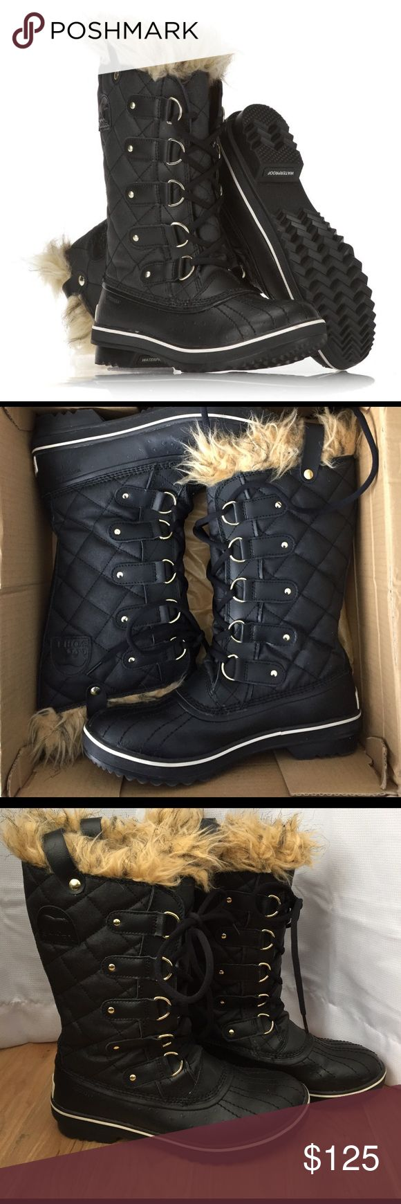 NWT Sorel Torino Boots Brand new waterproof black boots with gold details. Fleece and fur lining. Amazing tread for snow and ice. These are beautiful boots. Come with box. Sorel Shoes Winter & Rain Boots