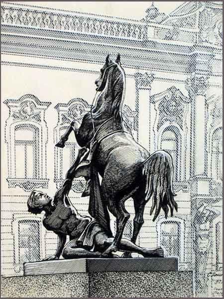 Семен Гесин, скульптура на Аничковом мосту
