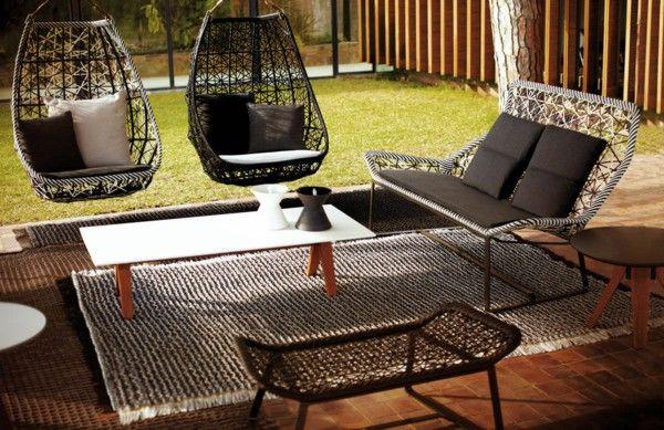 Designer outdoor furniture black white braided