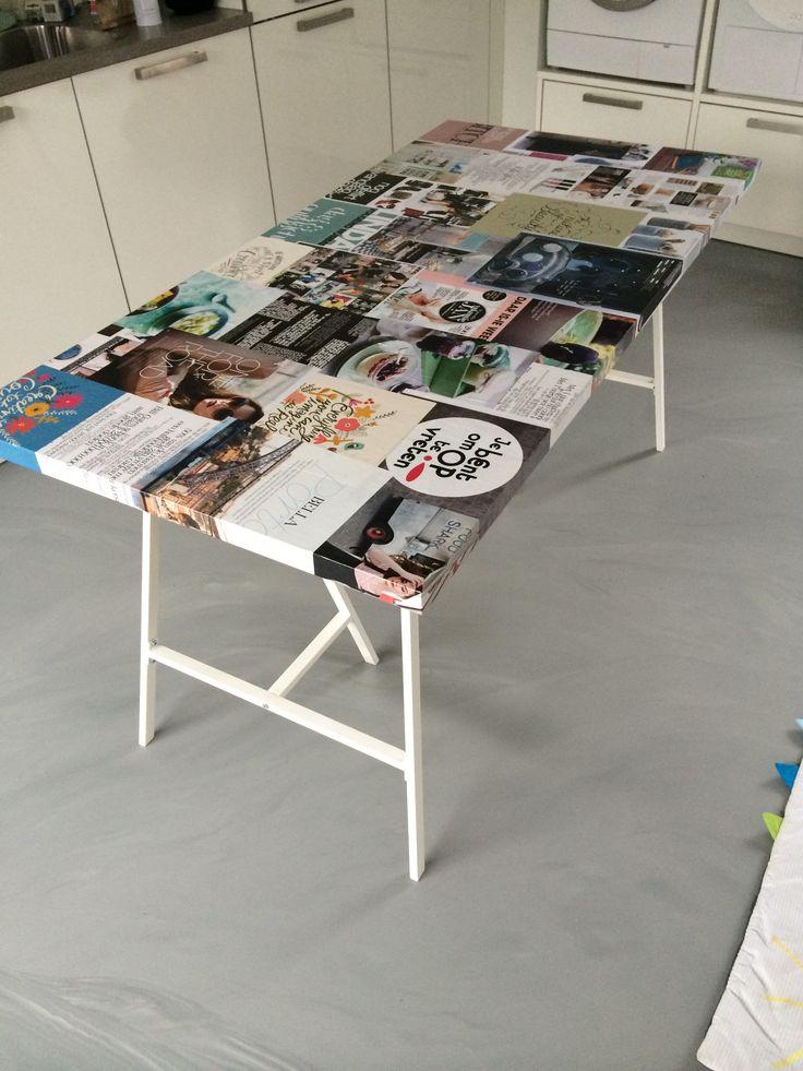 Zelf gepimpte tafel, behangen met leuke artikelen uit kranten en tijdschriften. Worsdt nog afgelakt!