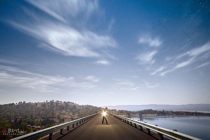 https://flic.kr/p/T8ZHcv   The Dark Road   Lake Burrendong, New South Wales, Australia. February 2017.  On top of Burrendong Dam.  Moon lit landscape.
