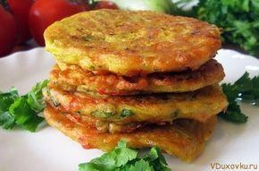 Веганские и вегетарианские рецепты / Оладьи из гороховой муки с овощами