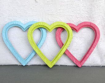 Custom Color 1 Heart Frame with GLASS- 4 available- Upcycled painted wall decor College Dorm Nursery Teen or Girl room