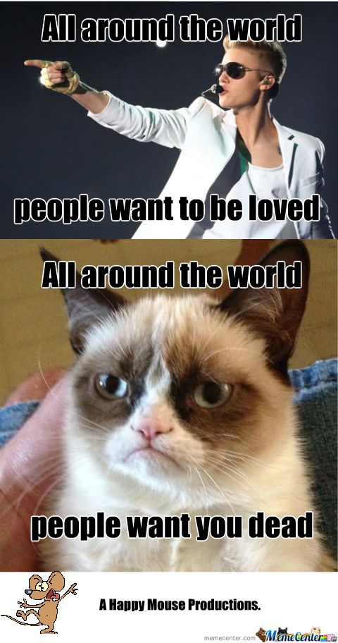 grumpy cat pictures that make fun of justen beiber | Grumpy Cat Hates Justin Too - Meme Center
