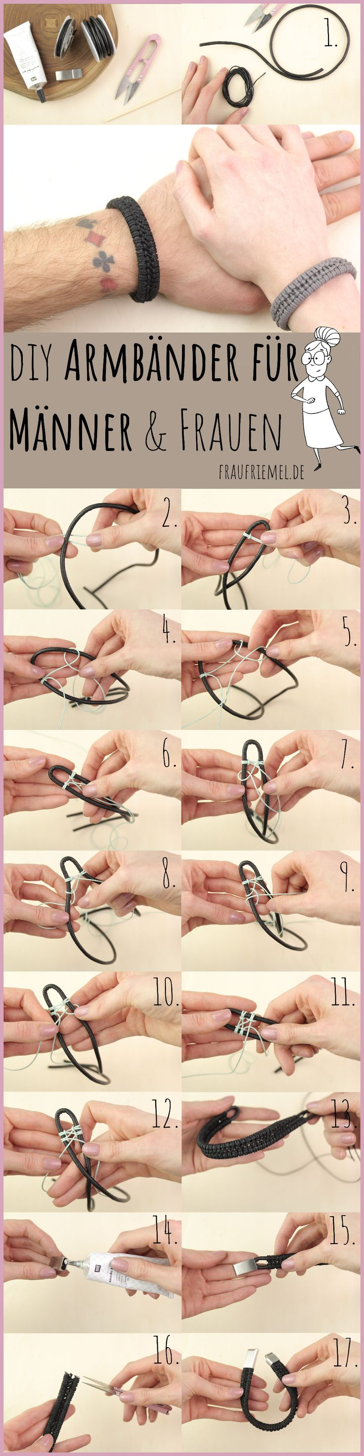 Make bracelets for men themselves – the detailed crafting instructions for the …   – Nähen