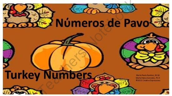 Use this fun activity during Thanksgiving season.  It is a bilingual activity and students can practice spelling their numbers in English or Spanish from 1-30.  Happy Thanksgiving.