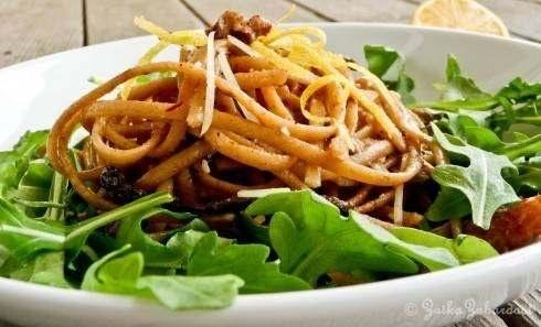 spring pasta tossed in lemony garlicky buttery walnut sauce