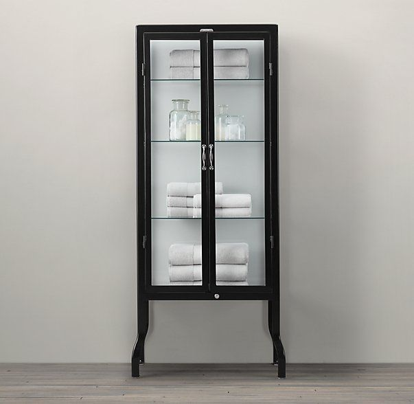 Pharmacy Tall Bath Cabinet Black