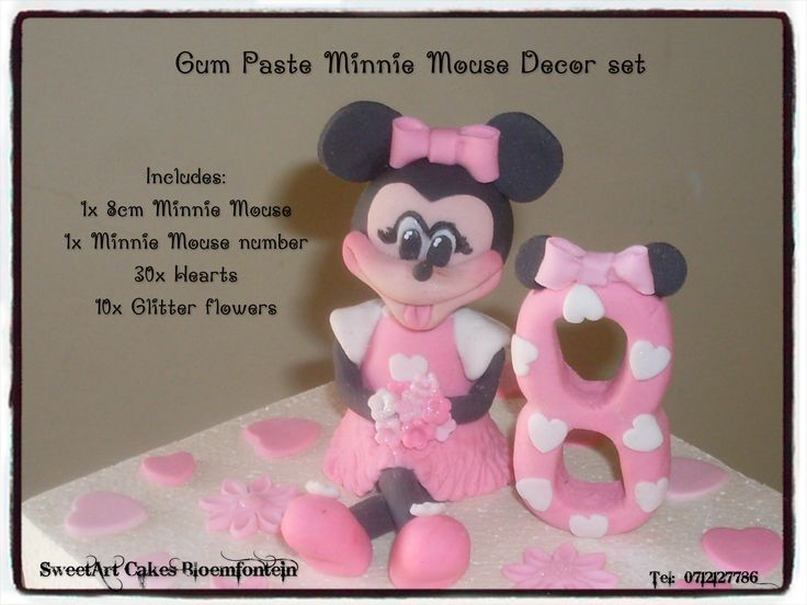 Fondant Minnie Mouse cake decor set. For more info & orders, email sweetartbfn@gmail.com or call 0712127786