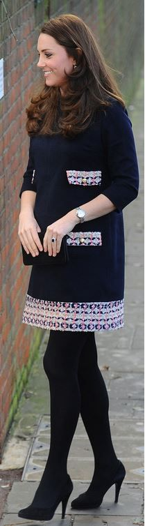 Kate Middleton: Dress – Madderson London  Watch – Cartier  Purse – Mulberry  Shoes – Episode Angel