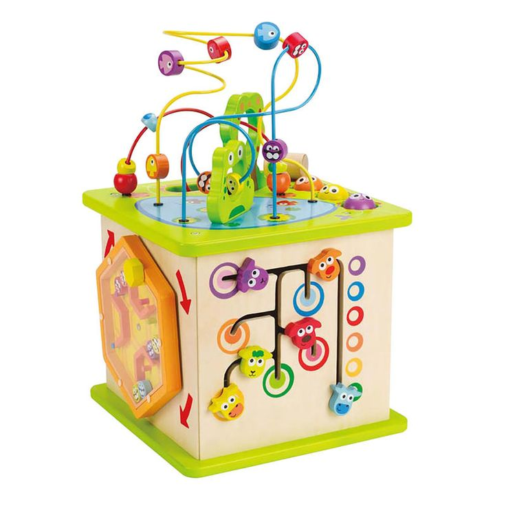 Country Critters Play Cube by Hape:  Mazes, shapes, levers, and lots of flying, swimming, and croaking creatures turn this colorful, five-sided activity center into a hub of activity. Made of sturdy wood with water-based paint, it'll stand up to years of fun.