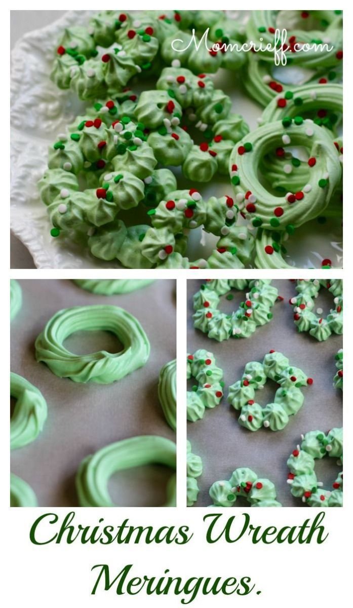 Christmas wreath meringues.  One of those recipes that's easier than you think!  Makes a big batch.  My kids LOVE!